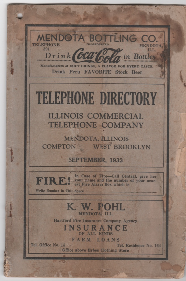 Image for Telephone Directory for Mendota, Illinois Compton and West Brooklyn Issued by Illinois Commercial Telephone Company September, 1933