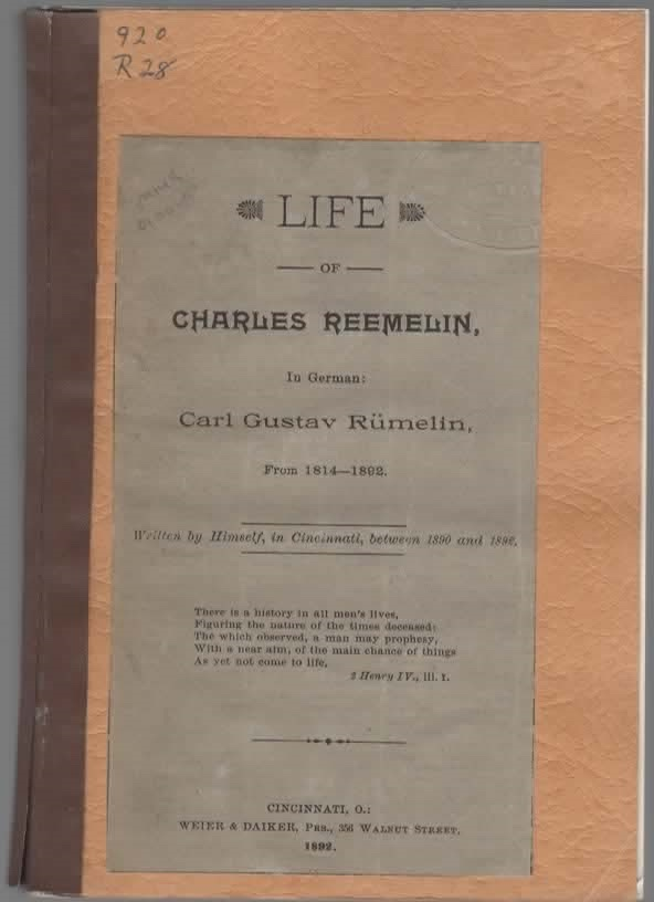 Image for Life of Charles Reemelin, In German: Carl Gustav Rumelin, From 1814-1892