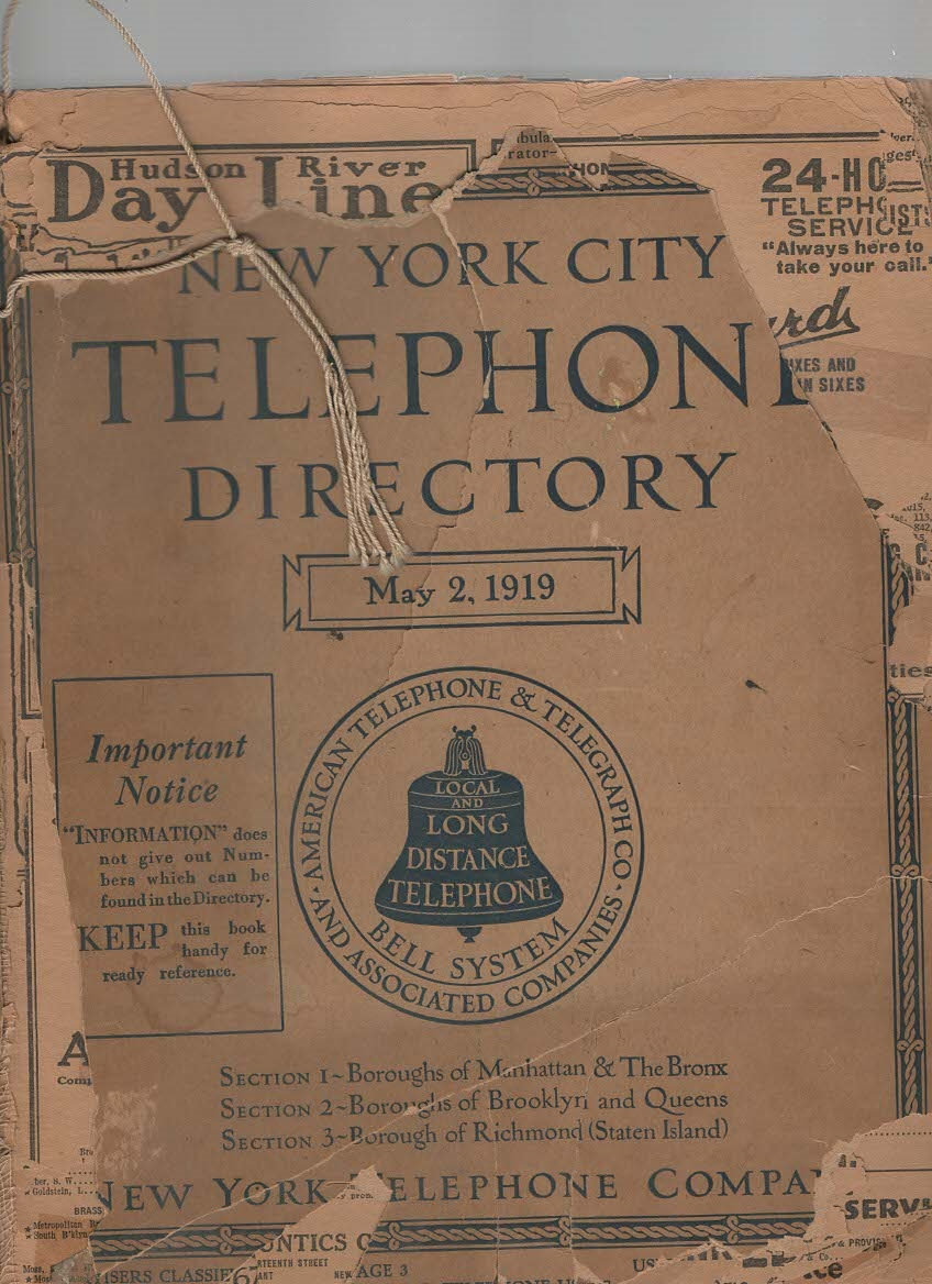 Image for New York City Telephone Directory May 2, 1919