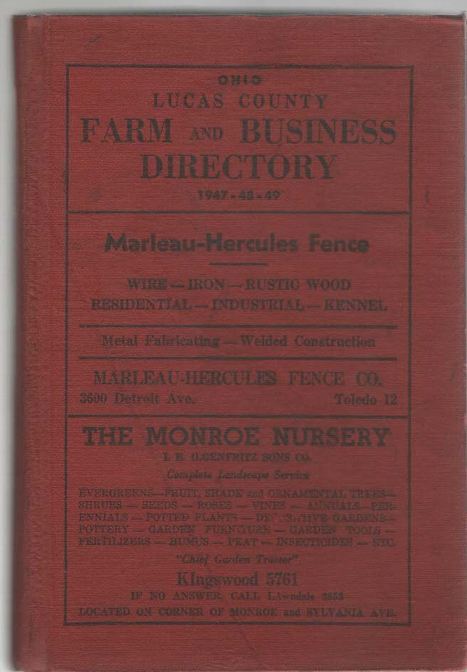 Ohio Lucas County Farm and Business Directory 1947-48-49