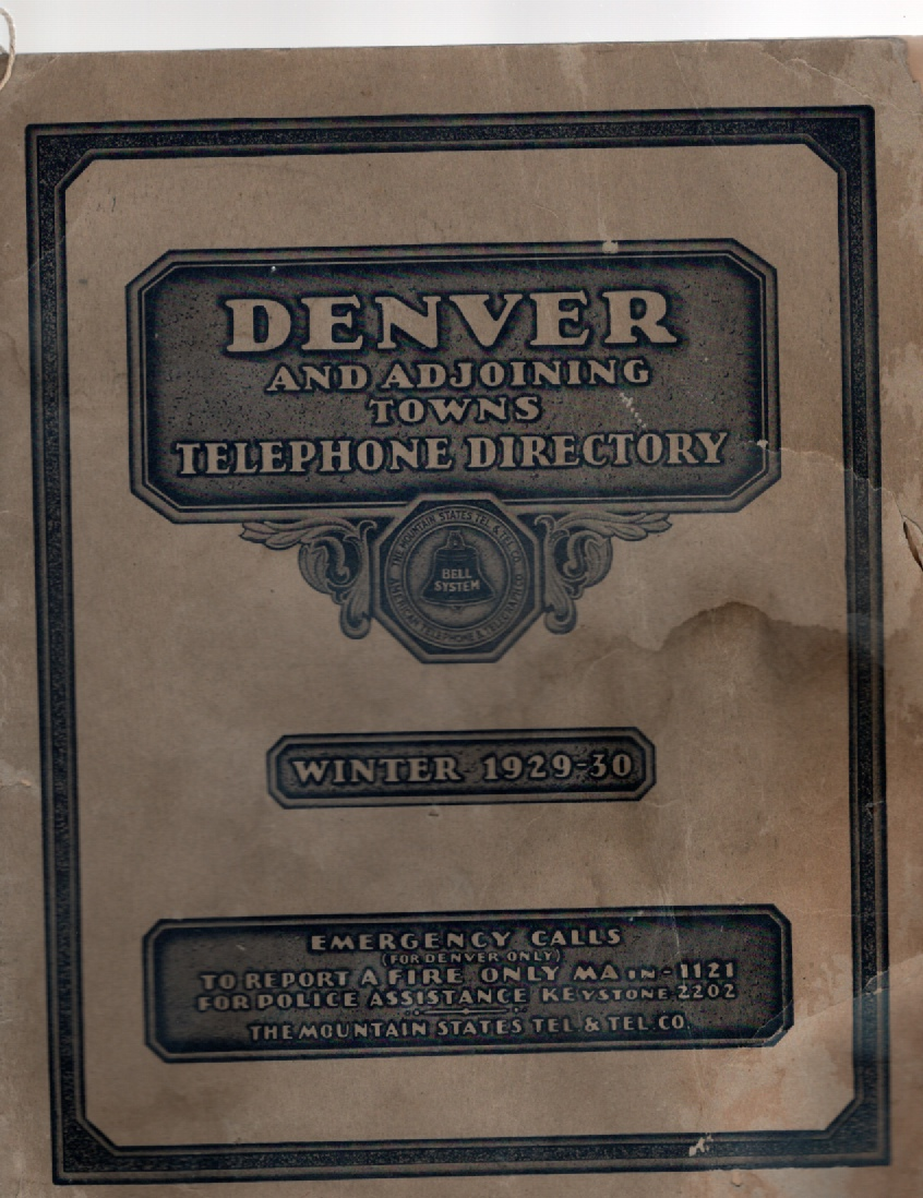 Image for Denver and Adjoining Towns Telephone Directory Winter 1929-30