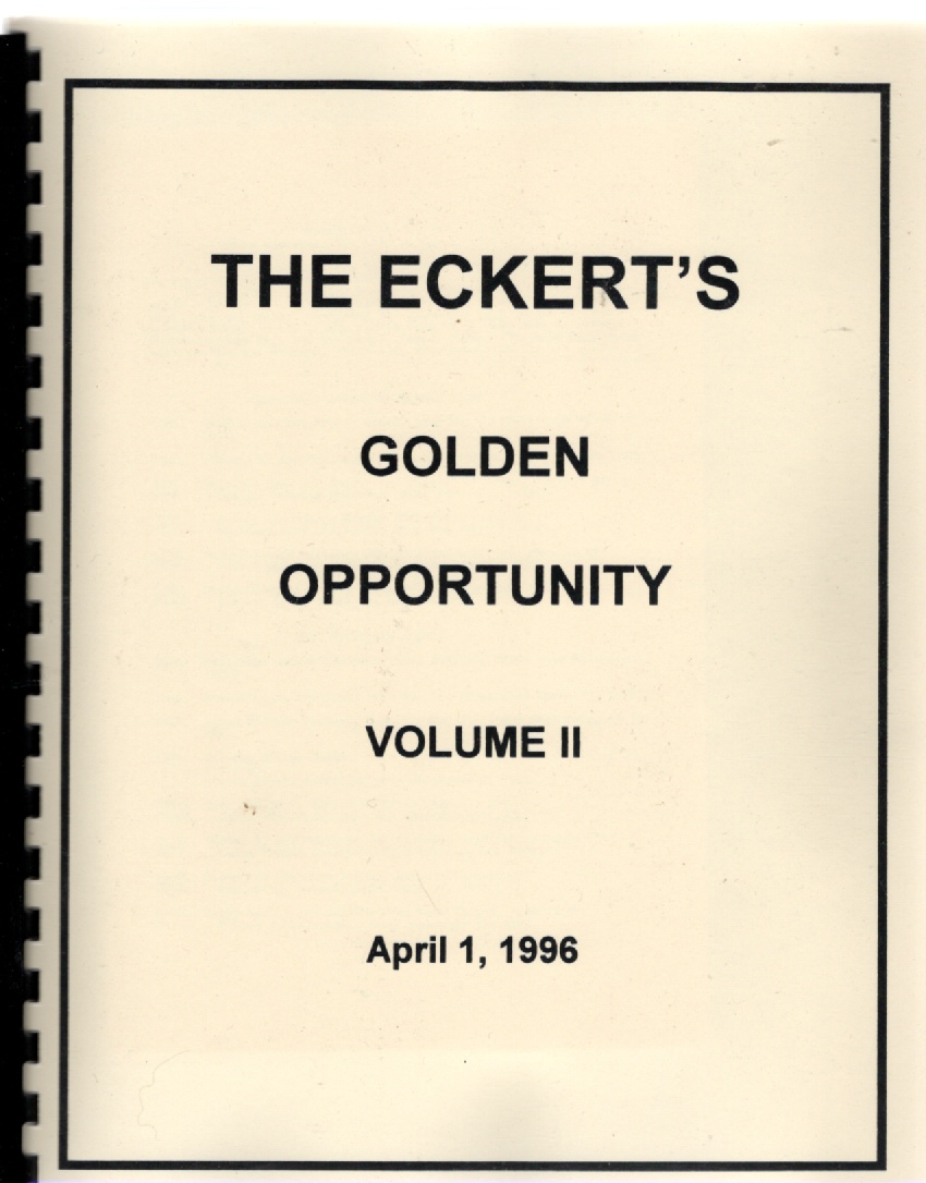 Image for The Eckert's Golden Opportunity Volume II